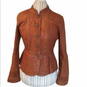 ANA Petite Brown Leather Jacket